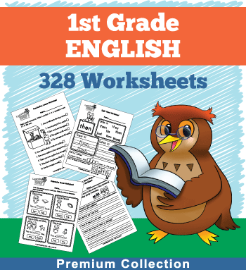 1st grade English worksheets next to our owl mascot