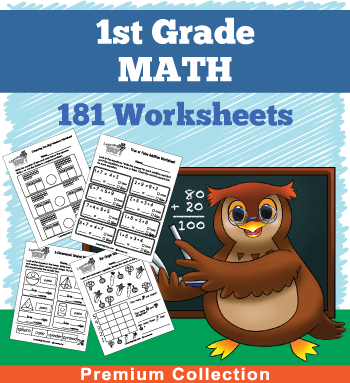 1st grade math worksheets next to our owl mascot
