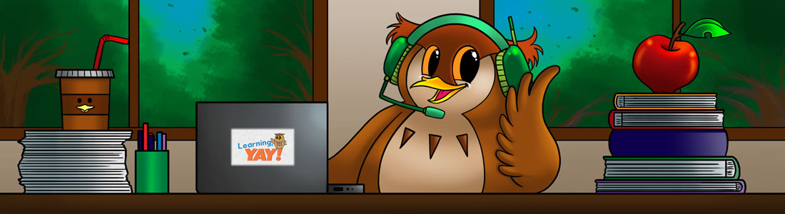 Owl mascot is acting as a customer service representative in a classroom.
