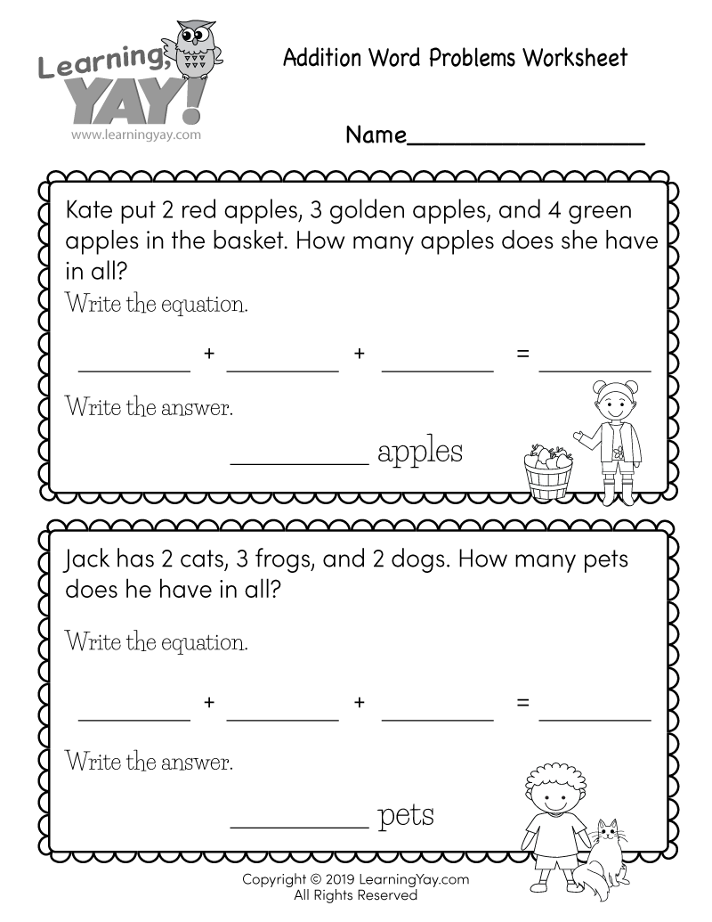 Addition Word Problems Worksheet For 1st Grade Free Printable - 36+ Addition Word Problems Kindergarten Worksheets Pictures