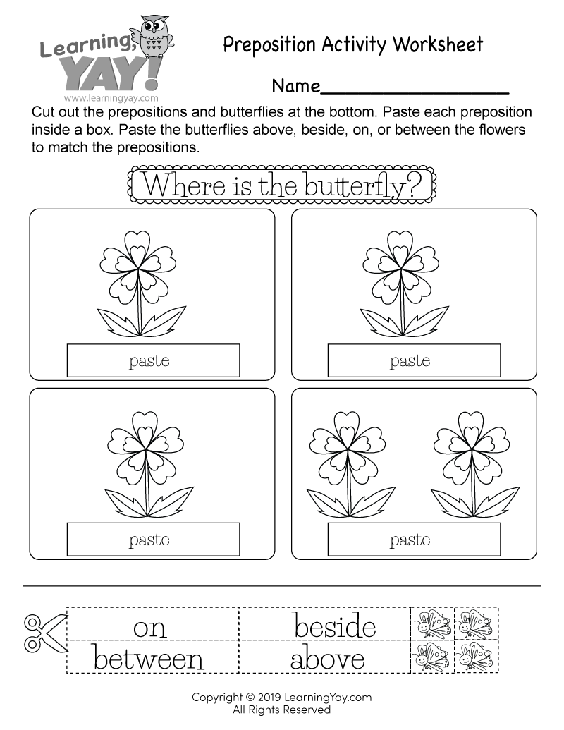 Preposition Activity Worksheet