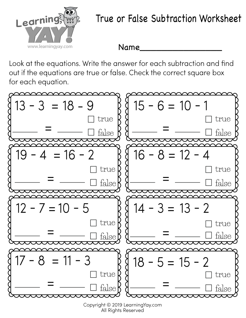 True or False Subtraction Worksheet for 1st Grade (Free ...