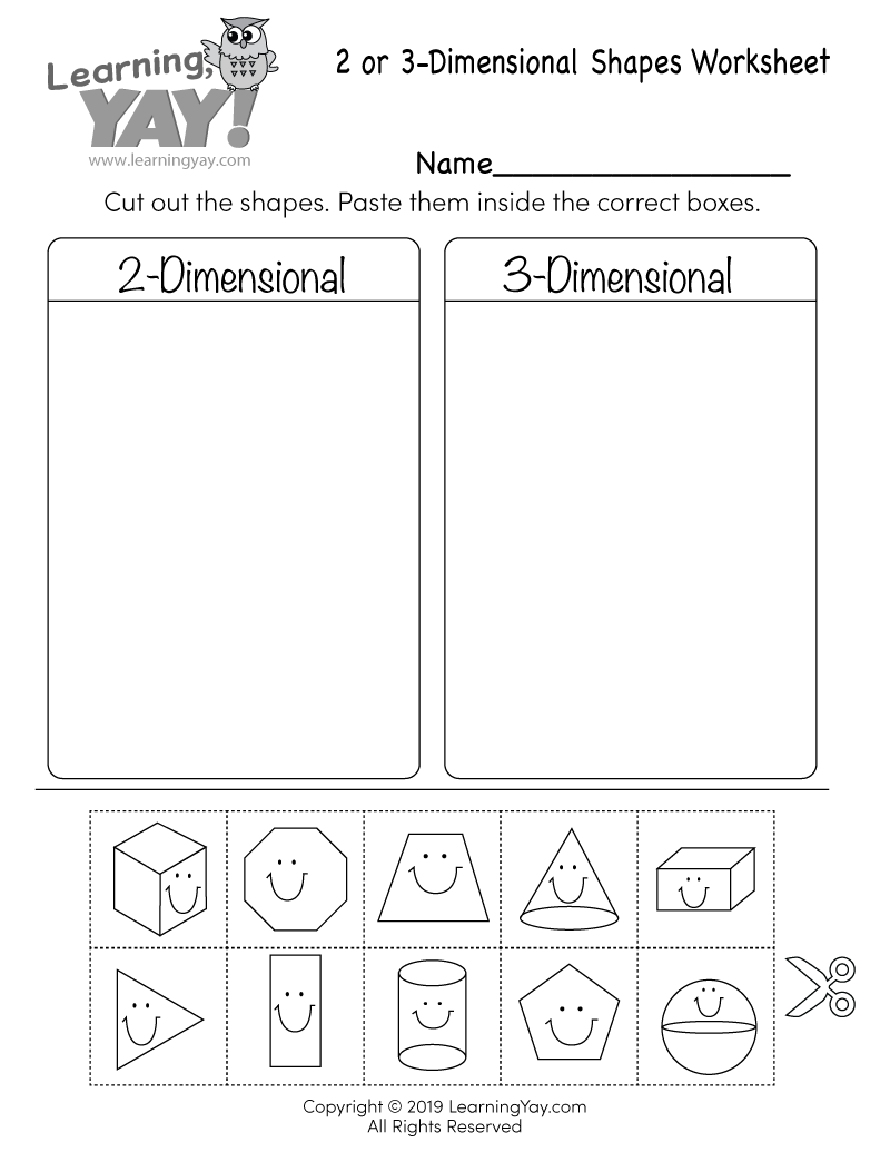 Sorting 2D and 3D Shapes Worksheet