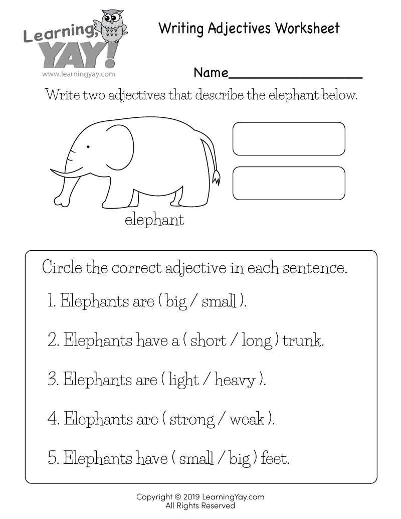 Writing Adjectives Worksheet for 1st Grade (Free Printable)