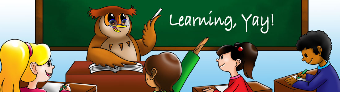 Owl mascot teaching students in front of a blackboard that says Learning, Yay!