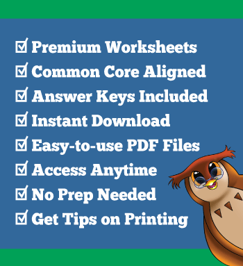 premium worksheets details: Common Core aligned, answer keys, instant download, PDF files, access anytime, no prep needed, tips on printing