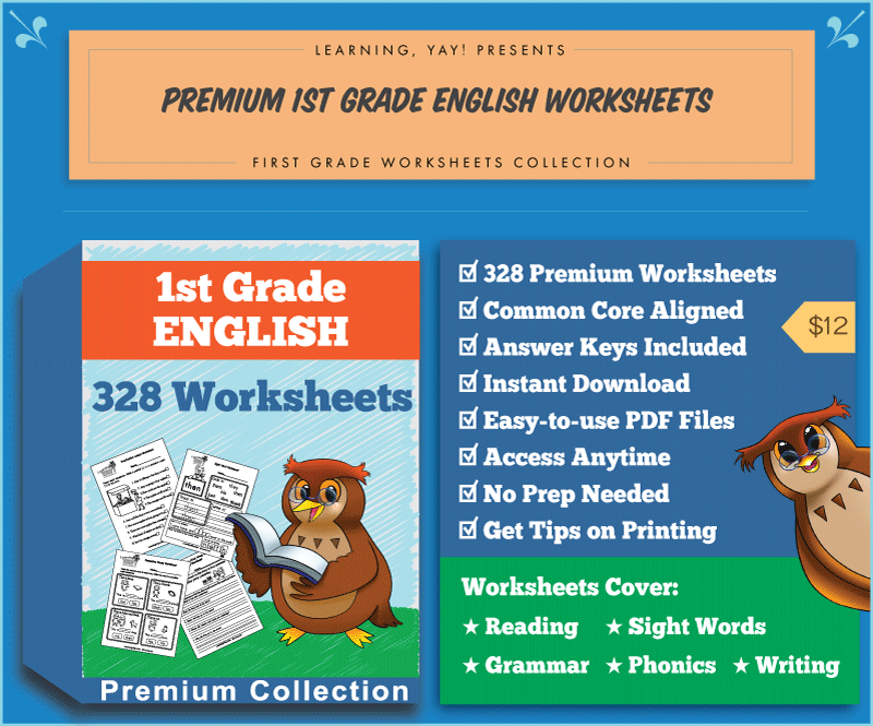 Premium 1st Grade English Worksheets Collection covers reading, writing, phonics, grammar, and sight words.