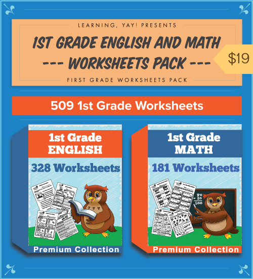 Premium First Grade English and Math Worksheets Pack