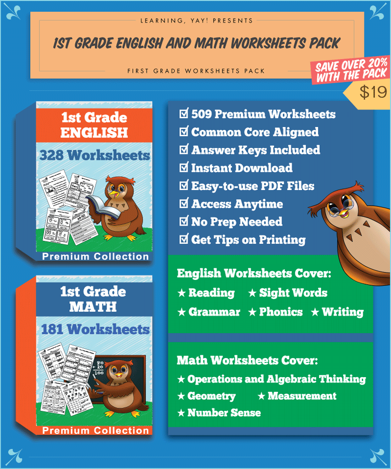 1st Grade English And Math Worksheets Pack Common Core Aligned
