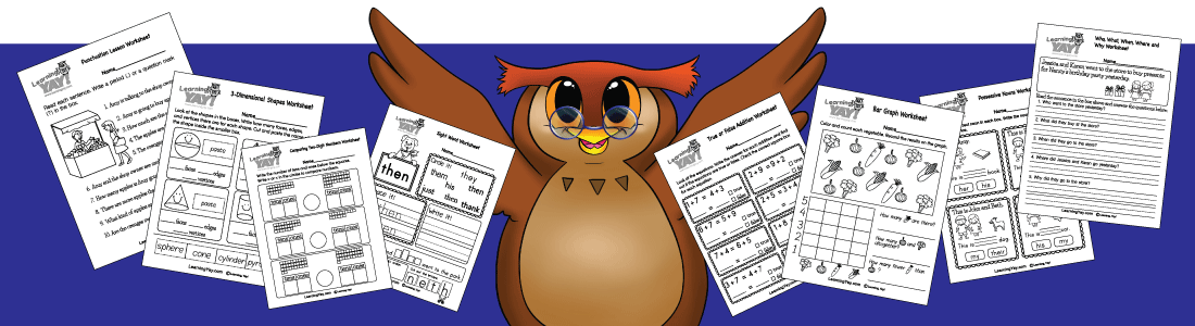 math and English worksheets surround our owl mascot